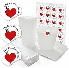 24 weiße Papiertüten für Gastgeschenke 14 x 22