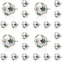 24 x 2011-E bunt Keramik Möbelknopf Möbelknöpfe