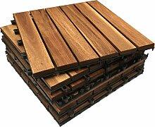 24x Hartholz Sonnendeck Fliesen Interlocking quadratisch Holz-Deck. Garten, Terrasse, Balkon, Dachterrasse, Festzelt Bodenbelag