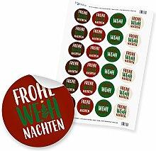 """24 x itenga Sticker """"Frohe Weihnachten"""" (Motiv"""