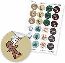 """24 x itenga Sticker """"Weihnachten Mix Vintage"""""""