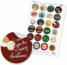 """24 x Sticker """"Frohe Weihnachten Mix"""" (Motiv"""