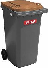 240 L SULO Papierkorb, Mülleimer, Mülltonnenaufkleber, recycling, Haushalt Abfallbehälter mit Deckel grün (22143) Grau