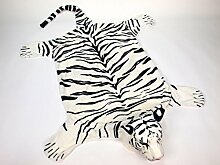 240 x 143 cm Plüsch Tiger weiß Tepich Kinderzimmer Dekoration Kindermöbel Plüschtier
