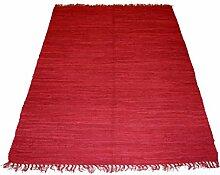 240x170cm Einfarbiger Fleckerlteppich in ROT Handgewebt Kelim Beidseitig nutzbar 2000g/m Baumwolle Kilim Flickenteppich Teppich