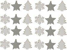 24er Set Dekoklammer Stern Tanne Schneeflocke Klammer 5cm Holzklammer Weihnachten