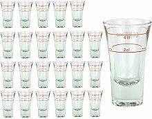 24er Set Schnapsglas DUBLINO mit Eichstrich, 2 cl
