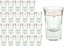 24er Set Schnapsglas DUBLINO mit Eichstrich, 2 cl,