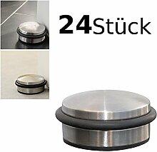 24er Set Türstopper flach ca. 10x4cm Türpuffer Tür Stopper Halter Puffer Edelstahl-Design - 24 Stück