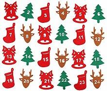24PCS Weihnachts-Adventskalender-Aufkleber,