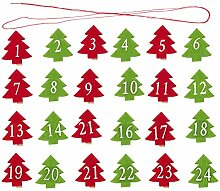 24PCS Weihnachts-Holzclips,