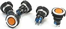 24V 22mm SPDT Locking orange Lampe Kunststoff-Push