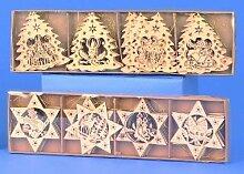 24x Fensterbild Holz Christbaumschmuck Tanne Sterne