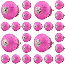24x Keramik Möbelknopf 16005-E pink Möbelknöpfe Möbelgriff Kommode Keramik Shabby