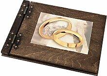 25 Blatt Holz Fotoalbum mit großen Ringen