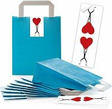 25 blaue Papiertüten mit Henkel Geschenktüten +