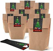 25 braune kleine Kraftpapier Weihnachts-tüte
