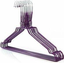 25 Drahtkleiderbügel 2.3mm verzinkt mit violetter Kunststoffbeschichtung, ca. 40cm breit Hangerworld