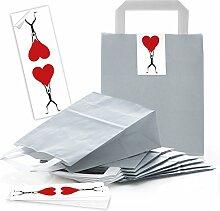 25 kleine graue Papiertüten Geschenktüten mit
