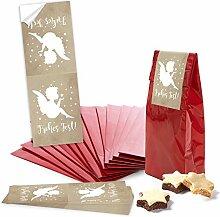 25 kleine rote Papiertüten mit Pergamin-Einlage 7