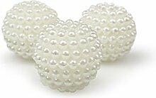 25 Perlen mit Loch, Kunststoff , creme ca. D:2cm