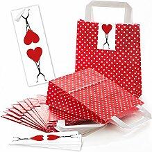 25 rot gepunktete Papiertüten Geschenktüten mit