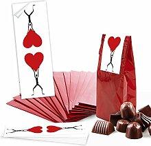 25 rote Geschenktüten Papiertüten für