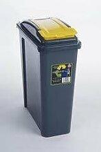25 Schlanke Mülleimer Küche Mülleimer, 25 L, Kunststoff, Mit Gelber Deckel von HotDeals, EU