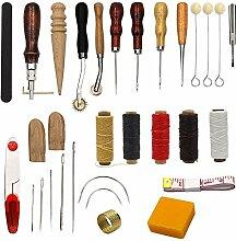 25Stück Nähbedarf Zubehör Werkzeuge, Leder Craft Hand Sticken Nähen Werkzeug