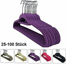 25 x Kleiderbügel Samt Lila RSR Hangers +