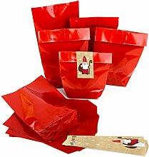 25 x Nikolaus Weihnachten Verpackung ROT glänzend