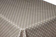 250cm x 137cm (2,5Meter) grau Polka Dot Beschichtete Baumwolle Tischdecke, Wachstuch, abwischbar, beste Qualitä