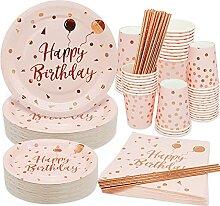 250 Stück rosa Geburtstagspartyzubehör rosa und