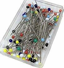 250pcs Glas Kopf Pins für Nähen Patchwork Positionierung Handarbeiten–verschiedene Farben