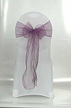 25x Organza Stuhlschleifen in violett (O05) Läufer Taft Schleife Schleifen Stuhlhussen Hochzei
