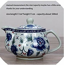 260ml / 500ml Griff Teekanne blau und weiß