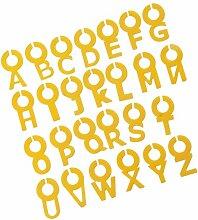 26x Silicone Brief Etikett Weinglas Glas Tasse Tag Home Party Identifer Marker - Gelb