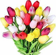 28 Stück Tulpe künstliche Blume Latex Real Touch
