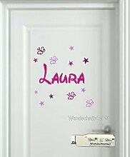 2810 Rosa Mix ++Aufkleber mit dem Namen Ihrer Kindes++ als Tür-Wand-Schrank-Fensteraufkleber.Kinderzimmer.Geschenk.Türschild +11 teilig Sterne und Schmetterlinge