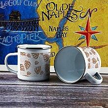 284 ml Emaille Tasse Lustige Kaffeetasse Braun