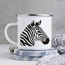 284 ml Emaille Tasse Lustige Kaffeetasse Zebra
