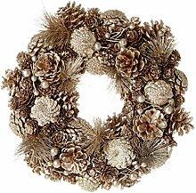 29cm Natur Gold Tannenzapfen Kranz–Weihnachten Tür Dekoration
