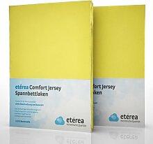 2er / Doppelset etérea Comfort Jersey Spannbettlaken Spannbetttuch Gelb in 90x200 - 100x200 cm