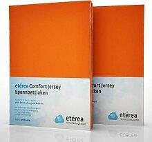 2er / Doppelset etérea Comfort Jersey Spannbettlaken Spannbetttuch Orange in 90x200 - 100x200 cm