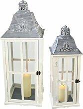 2er Holzlaternen Set H75/48cm mit Metalldach und Echtglasscheiben im Landhaus Stil / Windlicht Gartendekoration Kerzenhalter Kerzenleuchter Stalllaterne