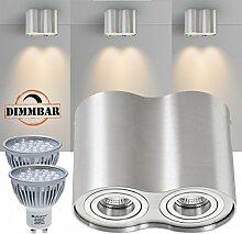 2er LED Aufbaustrahler Set ZYLINDER Aluminium mit