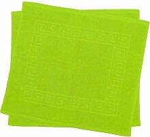 2er Pack 50 x 40 cm Julie Julsen Badvorleger in Premium Qualität 900 gm2 in aktuellen Farben und 4 Größen aus Baumwolle Badematte Badteppich Duschvorleger Design Spirale Apfelgrün