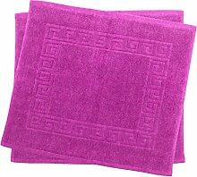 2er Pack 50 x 40 cm Julie Julsen Badvorleger in Premium Qualität 900 gm2 in aktuellen Farben und 4 Größen aus Baumwolle Badematte Badteppich Duschvorleger Design Spirale Pink