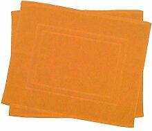 2er Pack 50 x 40 cm Julie Julsen Badvorleger in Premium Qualität 900 gm2 in aktuellen Farben und 4 Größen aus Baumwolle Badematte Badteppich Duschvorleger Design Doppel Rahmen Orange