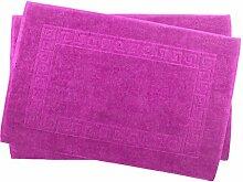 2er Pack 50 x 80 cm Julie Julsen Badvorleger in Premium Qualität 900 gm2 in aktuellen Farben und 4 Größen aus Baumwolle Badematte Badteppich Duschvorleger Design Spirale Pink